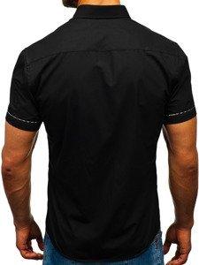 Мужская рубашка с коротким рукавом черная Bolf 5509-1