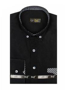 Мужская рубашка элегантная с длинным рукавом черная Bolf 4711