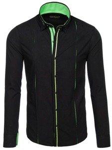Мужская элегантная рубашка с длинным рукавом черно-зеленая Bolf 2964