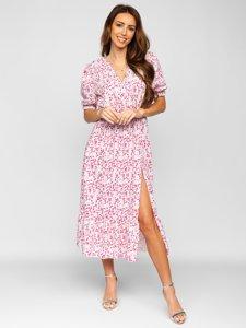 Розовое платье женское в цветочек Bolf A450