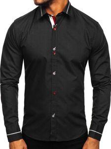 Рубашка мужская элегантная с длинным рукавом черная Bolf 5826