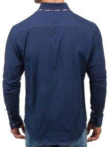 Рубашка мужская BOLF 4704 темно-синяя
