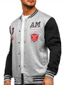 Серая толстовка-куртка мужская тонкая бейсбольная с принтом Bolf B10155