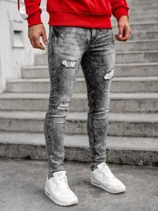 Серые мужские джинсы regular fit с ремнем Bolf 6038S0