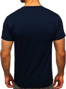 Темно-синяя мужская футболка с принтом Bolf S10033