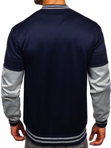 Темно-синяя с принтом толстовка мужская тонкая бейсбольная куртка Bolf B10158