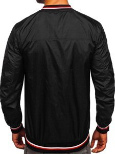 Черная мужская демисезонная куртка бомбер Bolf M10290