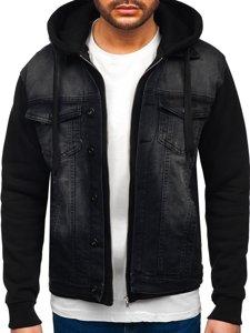 Черная мужская джинсовая куртка с капюшоном Bolf 10350