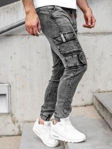 Черные джинсы джоггеры-карго мужские Bolf HY850