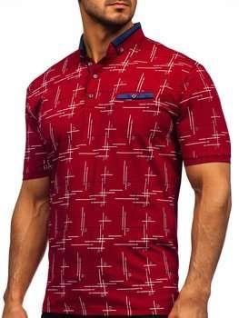Бордова чоловіча футболка поло з принтом Bolf 192232