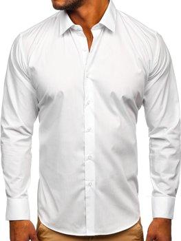 Біла чоловіча елегантна сорочка з довгим рукавом Bolf SM13
