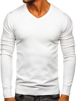 Білий чоловічий светр з V-подібним вирізом Bolf YY03