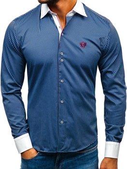 Елегантна чоловіча сорочка у смужку з довгим рукавом темно-синя Bolf 4784-A