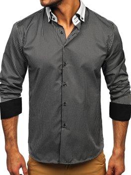 Елегантна чоловіча сорочка у смужку з довгим рукавом, чорна Bolf 0909-A
