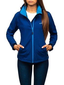 Жіноча демісезонна куртка софтшелл темно-синя Bolf AB056