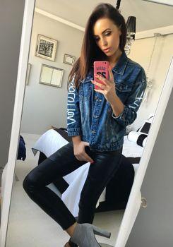 Жіноча джинсова куртка темно-синя Bolf 5131
