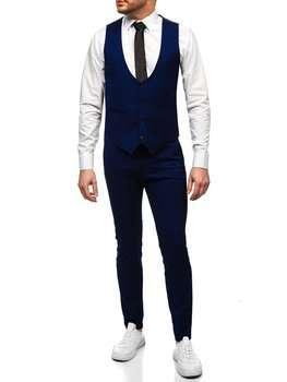 Кобальтовий комплект чоловічий жилет і штани Bolf 0019