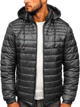 Куртка чоловіча демісезонна спортивна стьобана графітова Bolf 50A411