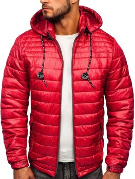 Куртка чоловіча демісезонна спортивна стьобана червона Bolf 50A411