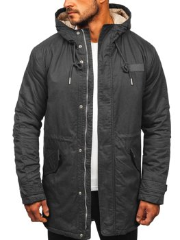 Куртка чоловіча зимова парка графітова Bolf EX838