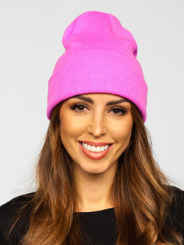 Рожева жіноча зимова шапка YW09004