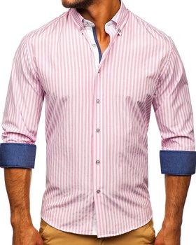 Рожева чоловіча сорочка в смужку з довгим рукавом Bolf 20704
