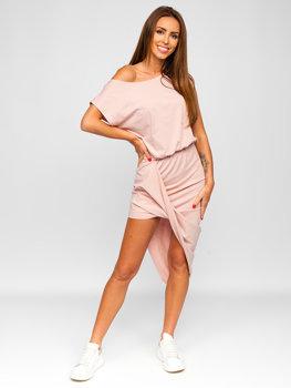 Світло-рожеве довга жіноча сукня Bolf 8812