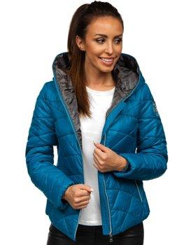 Синя стьобана жіноча зимова куртка з капюшоном Bolf A5701