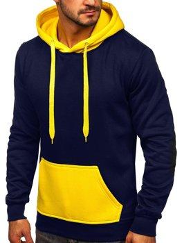Темно-синьо-жовта чоловіча толстовка з капюшоном Bolf LM77001