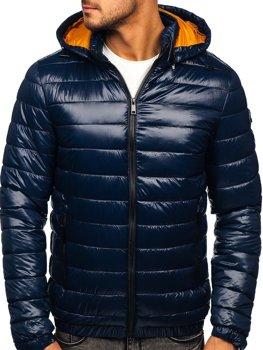 Темно-синя демісезонна чоловіча стьобана куртка Bolf 6794