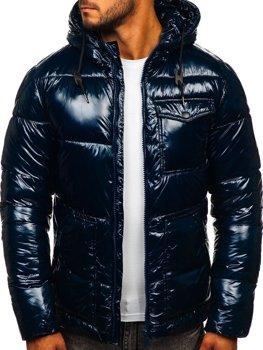 Темно-синя стьобана зимова чоловіча спортивна куртка Bolf 973