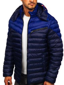 Темно-синя стьобана чоловіча демісезонна куртка Bolf M13012
