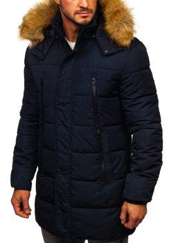 Темно-синя чоловіча зимова куртка парка Аляска Bolf JK333