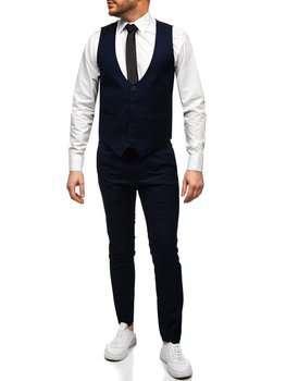 Темно-синій комплект чоловічий жилет і штани Bolf 0019