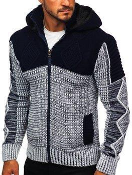 Темно-синій чоловічий светр товстої в'язки Bolf 2049