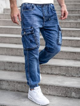 Темно-сині чоловічі джинсові джоггери карго Bolf K10005