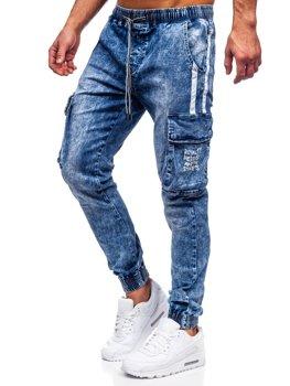 Темно-сині чоловічі джинсові джоггери-карго Bolf TF053