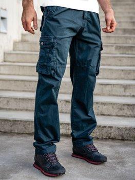 Темно-сині чоловічі штани карго plus size з поясом BOLF CT8901
