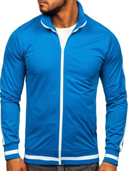 Толстовка чоловіча без капюшона ретро стиль синя Bolf 2126