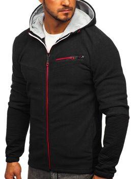Толстовка чоловіча флісова з капюшоном чорна Bolf YL005