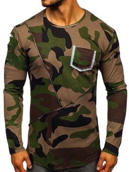 Хакі чоловіча футболка з довгим рукавом з принтом камуфляж Bolf 1090