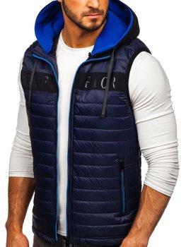 Чоловіча безрукавка з капюшоном темно-синя Bolf 6101