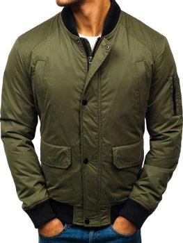 Чоловіча демісезонна куртка-бомбер зелена Bolf 1769