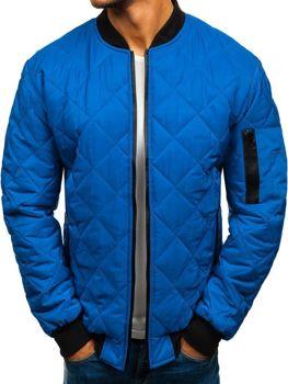 Чоловіча демісезонна куртка-бомбер синя Bolf AK76-A