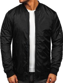 Чоловіча демісезонна куртка-бомбер чорна Bolf AK95