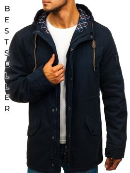 Чоловіча демісезонна куртка парка темно-синя Bolf 1818