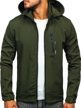 Чоловіча демісезонна куртка софтшелл зелена Bolf KM82626