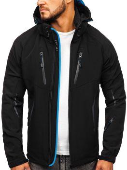 Чоловіча демісезонна куртка софтшелл чорно-синя Bolf 5612