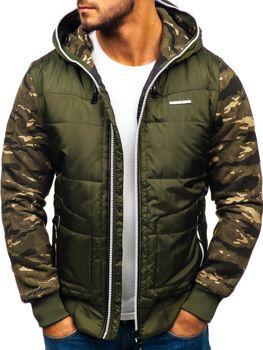 Чоловіча демісезонна спортивна куртка зелено-біла Bolf 3756-A