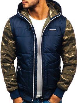 Чоловіча демісезонна спортивна куртка темно-синьо-біла Bolf 3756-A